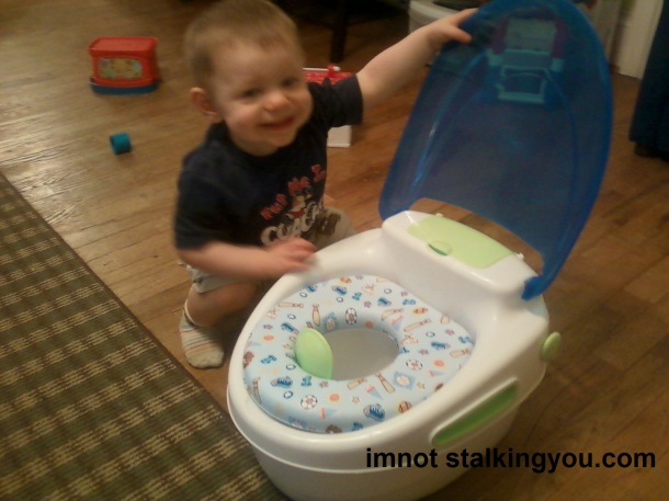 Here was the little potty when it was new.  I have no idea what ever happened to that blue lid.