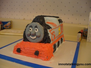 My finished Thomas The Tank Engine cake