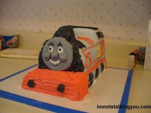 My finished Thomas The Tank Engine cake
