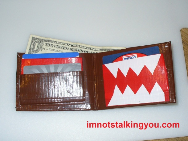 Domo Wallet, made from duct tape, 3 pocket interior