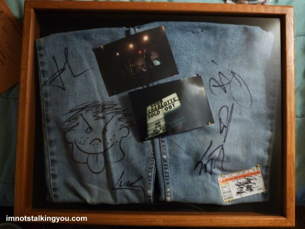 Good Charlotte: When the whole band signs your jeans, you have to make a shadow box!