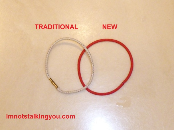 "Photo showing ""Traditional"" and ""New"" style ponytail holders"