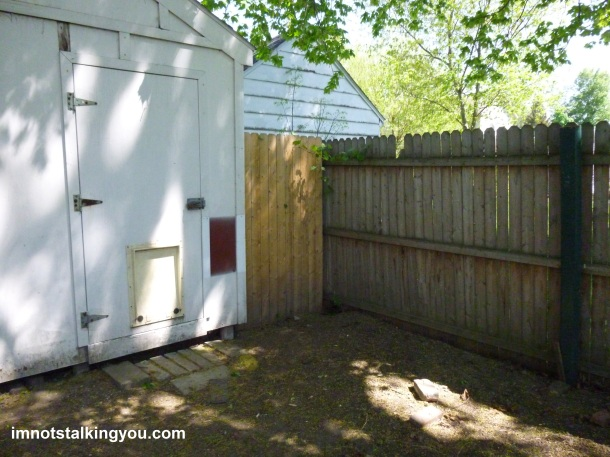 Space next to the garage with new fence