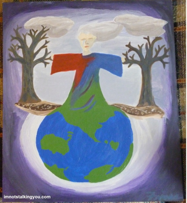 Mother Nature is weeping at the destruction we have done to our earth.  She is a part of ground, the trees, the clouds.