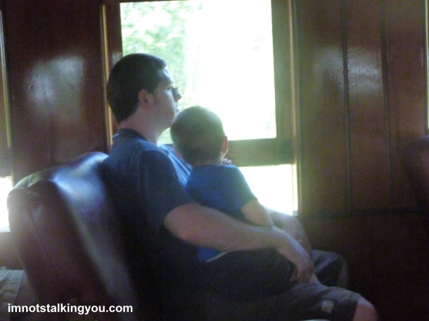 A quiet train ride moment, frozen in time
