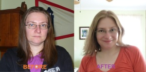 Before and after hair cut & color