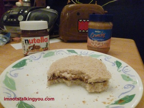 Crunchy Peanut Butter and Nutella Sandwich