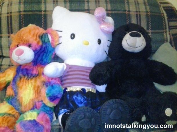 Our Build-A-Bear creations (l to r): Rainbow (my son's), Hootchie Mama Hello Kitty (mine), Lloyd (my husband's)