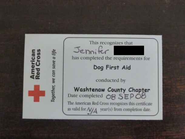 My American Red Cross Dog First Aid card