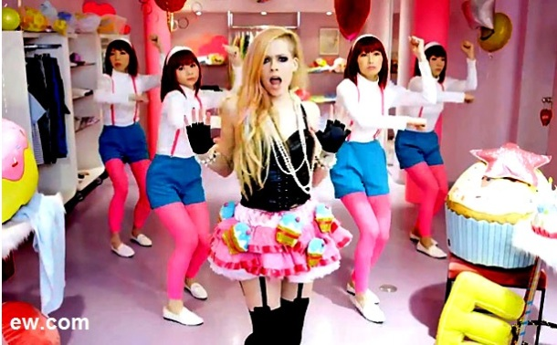 """It is a wonderful, candy-coated cupcake land to make my senses dance! Still from """"Hello Kitty"""" video"""
