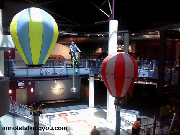 My husband on the high-wire bike at Imagination Station.  Yes, he is crazy.