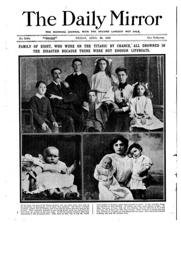 The Goodwin family.  All perished on the Titanic. Photo: The Daily Mirror