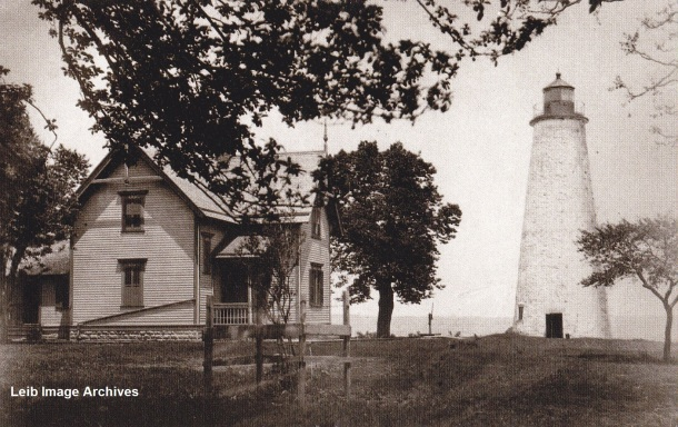 Photo of Marblehead Lighthouse from 1885.  Later, they would add another 10 feet to its height.
