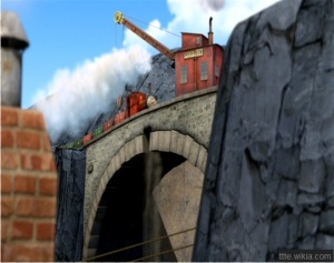 A scene from Thomas and Friends Blue Mountain Mystery, with the keystone missing