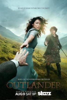 Outlander advertisement featuring Claire and Jamie