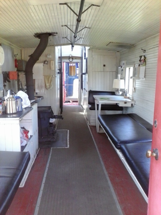 Inside of a caboose