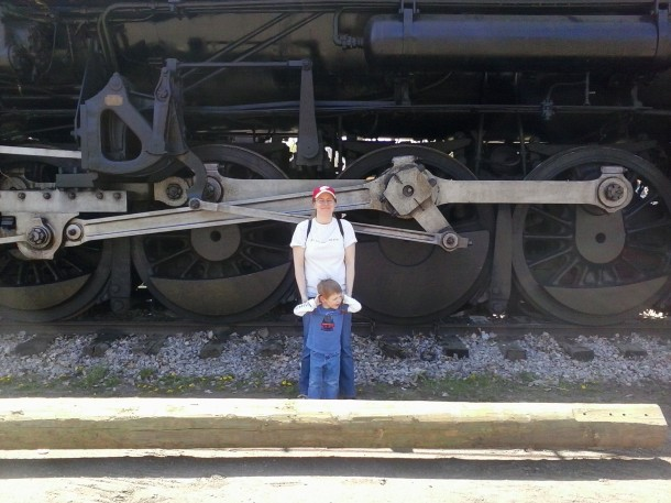 This is my son and I next to the drive wheels.