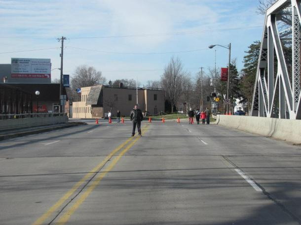 US223 bridge closed in Blissfield, MI, at River Raisin due to flooding, December 2011. I would let that hotty stay at my house!