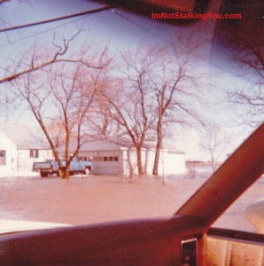 Our flooded neighbor's house, Riga Hwy, Riga, MI, 1981