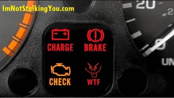 Typical dashboard warning lights