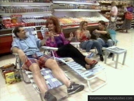 The Bundys camping in the grocery store.