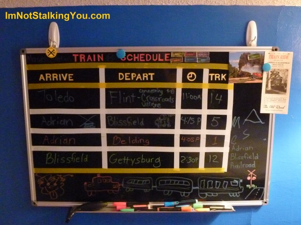 Train arrival board. It is a black magnetic dry-erase board. All the letters and lines are removable for when he gets older.