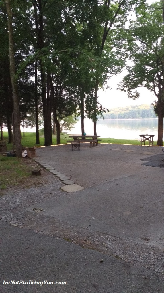 The campsite I wish I had, right on the lake. An hour after I took this picture, a deer walked right through there.