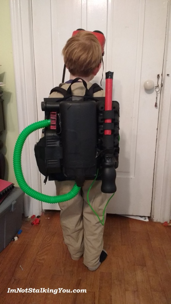 The finished proton pack in action.