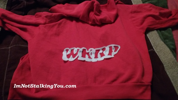 My WKRP jacket I made. Attached with safety pins for easy removal.